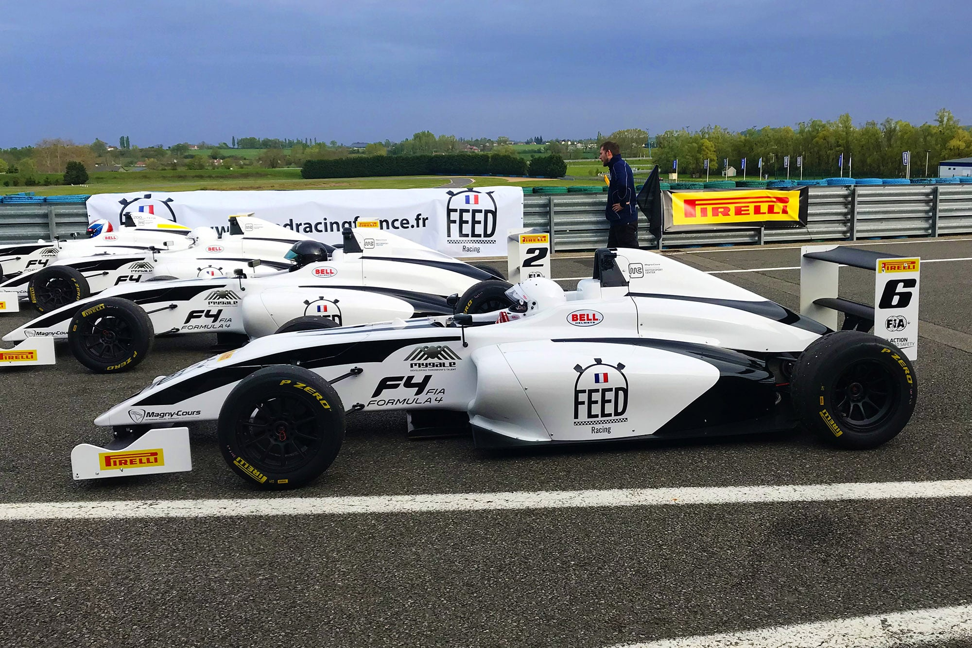 Single-seat F4 FEED RACING in pitlane of Magny-Cours