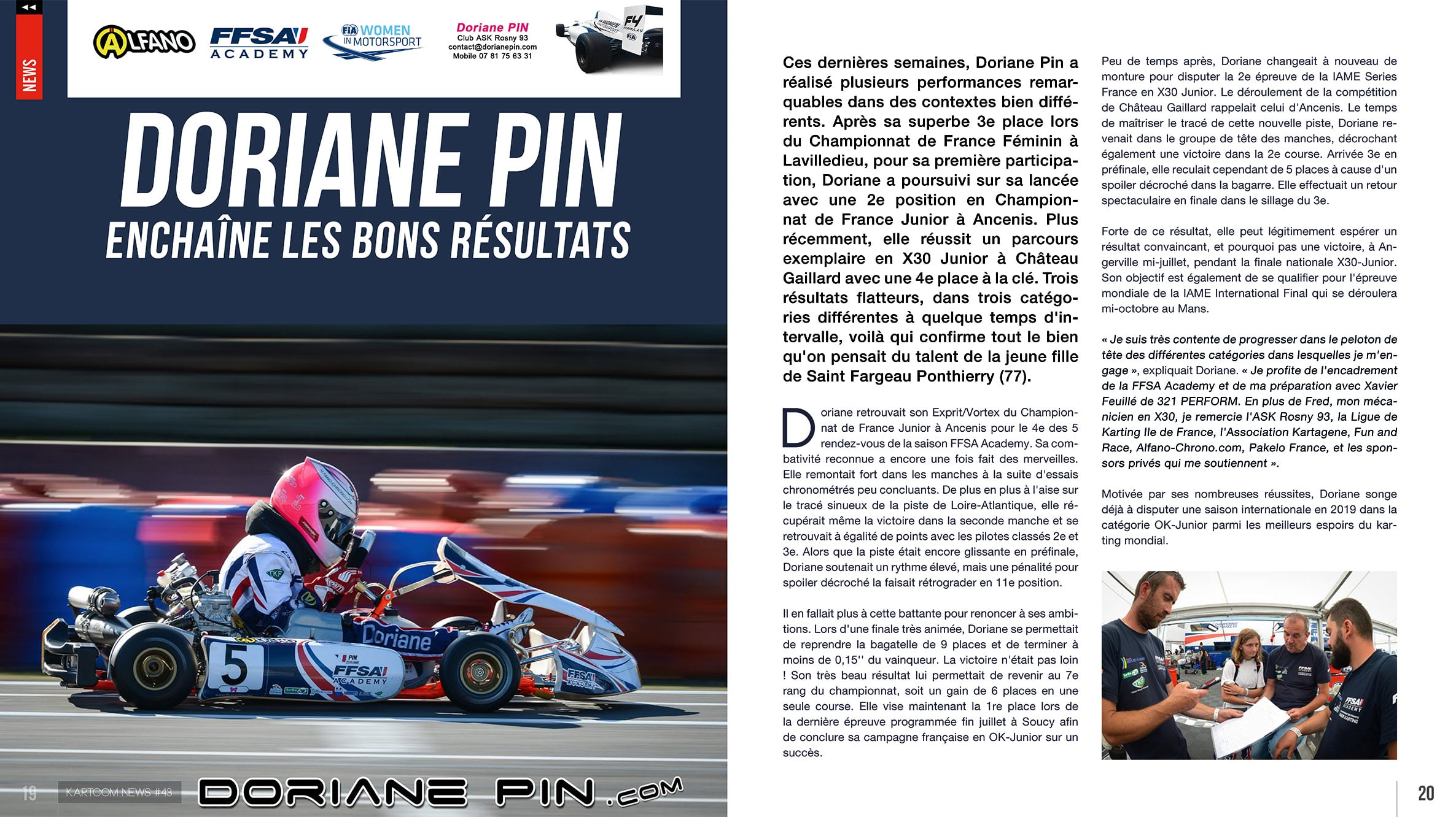 Doriane Pin récompensée par la Commission FIA Women in Motorsport lors du volant Winfield au Castellet , article fev 2019