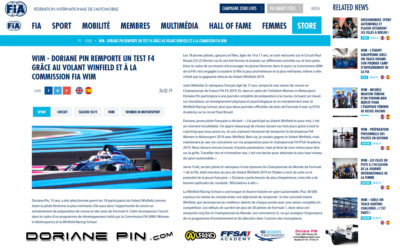 Doriane Pin remporte un test F4 grâce au volant Winfield et à la Commission FIA Women in Motorsport