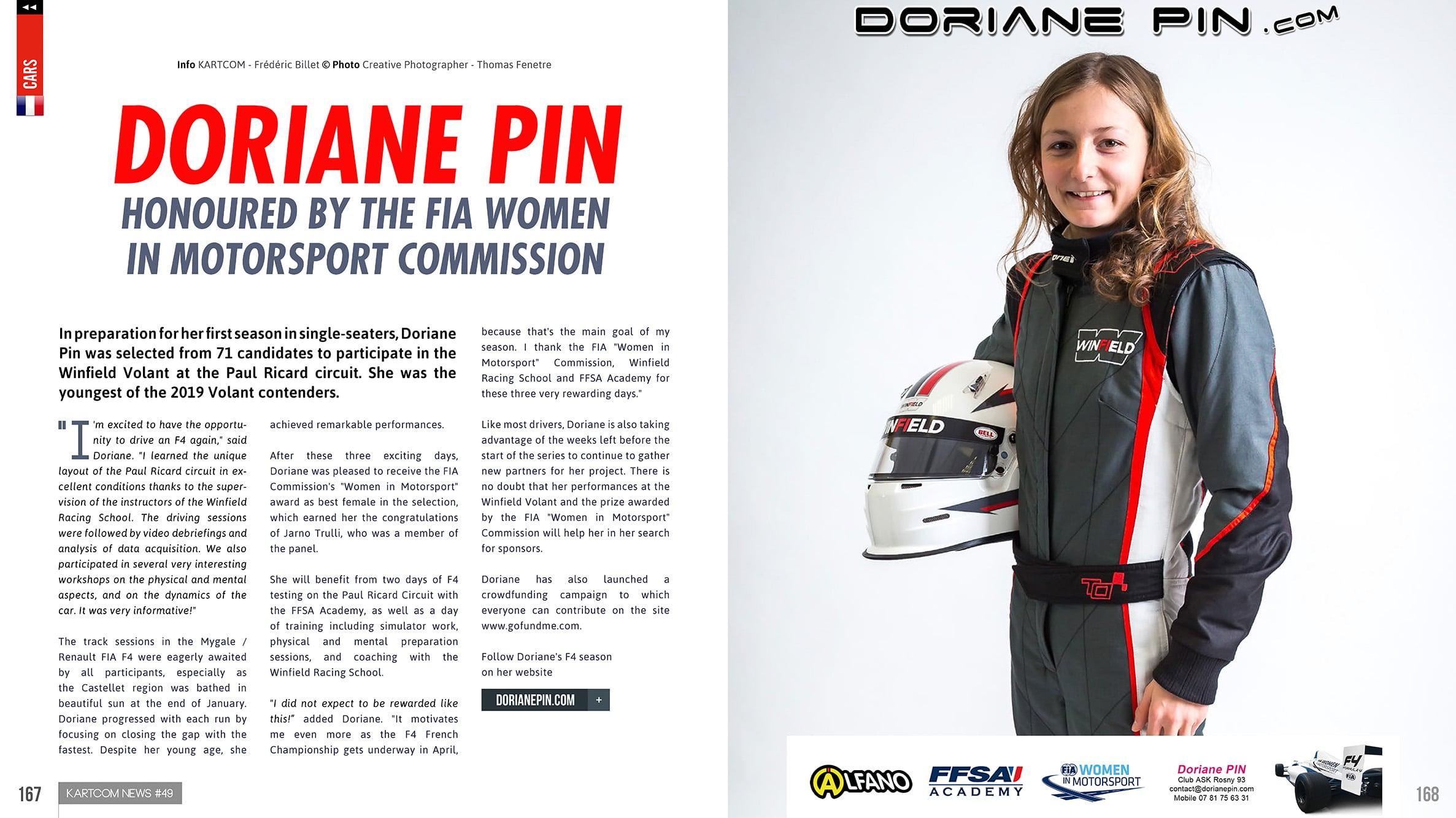 Doriane Pin honoured by the FIA Women in Motorsport Commission during Winfield Challenge at Le Castellet , post feb 2019