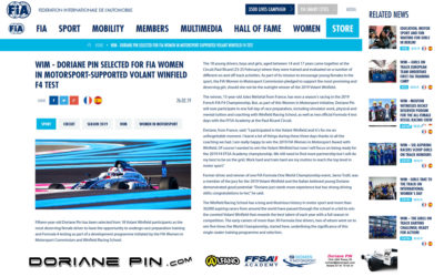 Doriane Pin selected for F4 test by FIA Women in Motorsports during Winfield contest