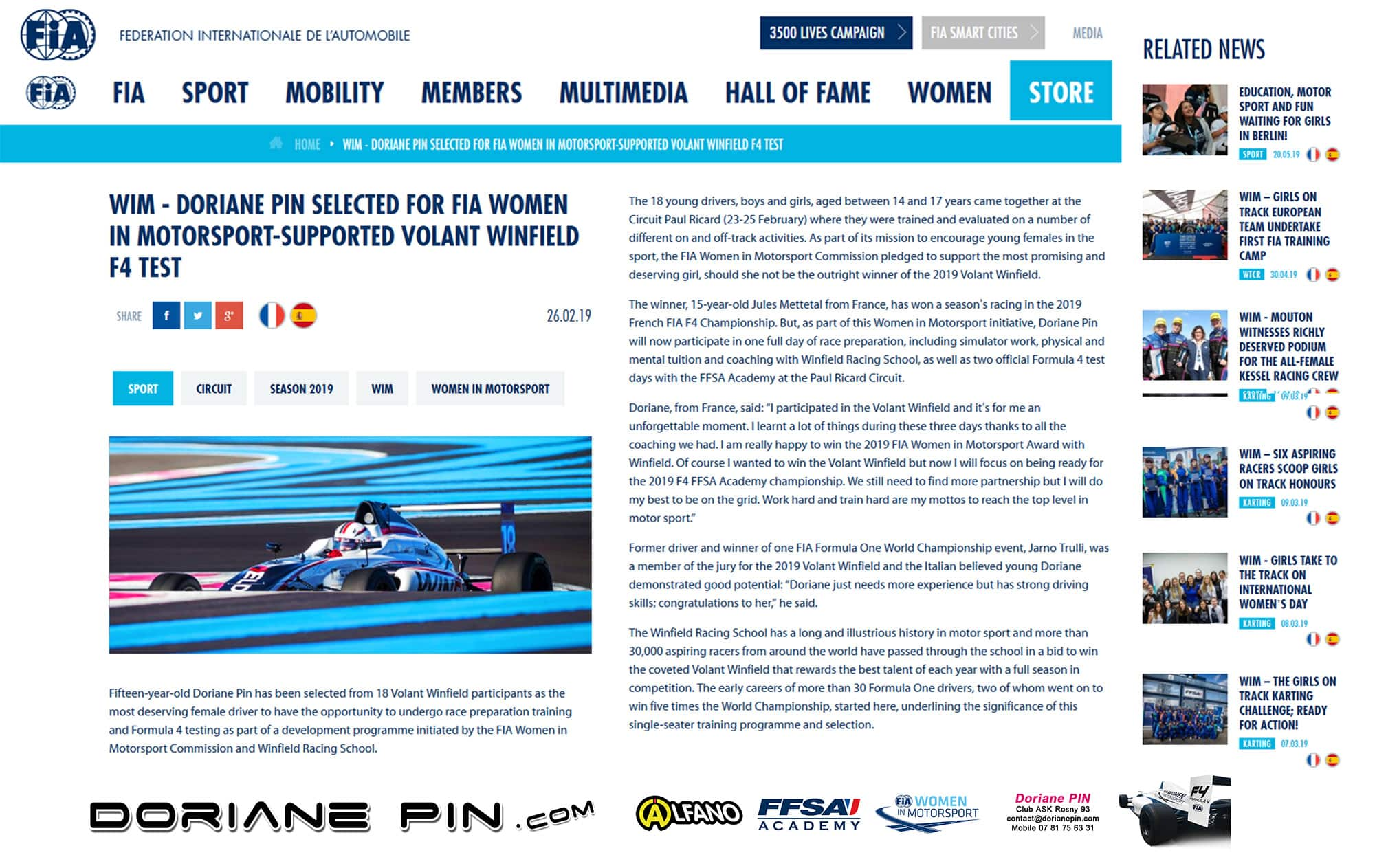 Doriane Pin selected for F4 test by FIA Women in Motorsport during Winfield contest
