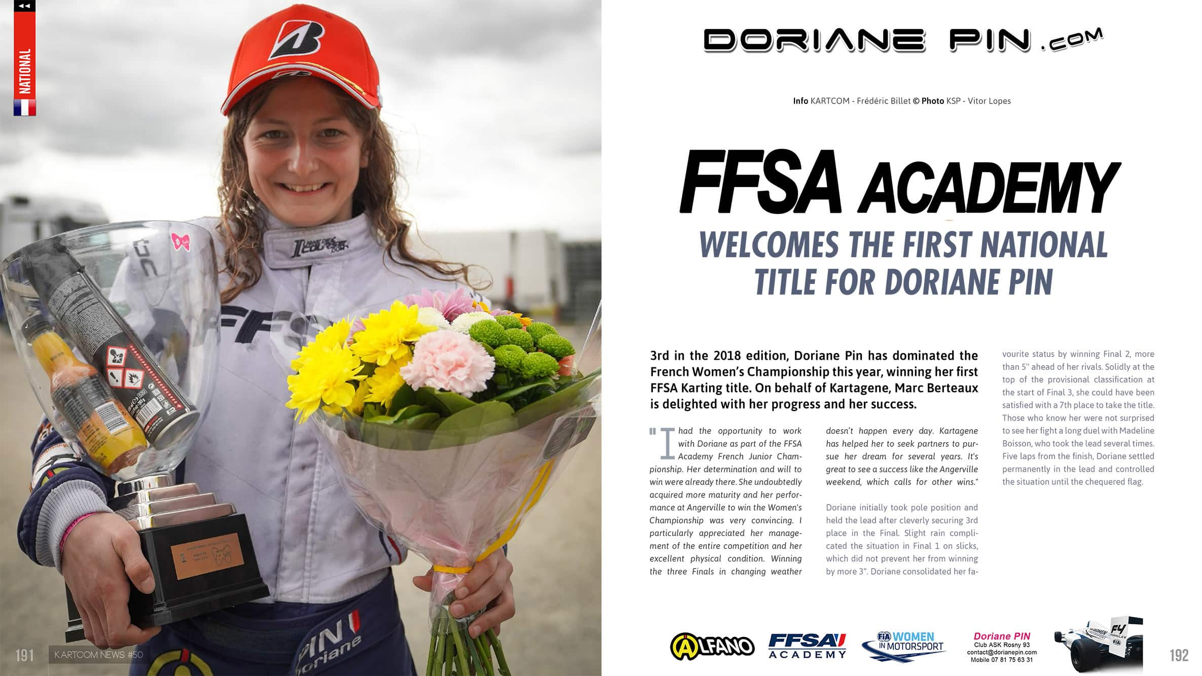 FFSA Academy welcomes Doriane Pin for her French Karting Champion title , posted april 2019