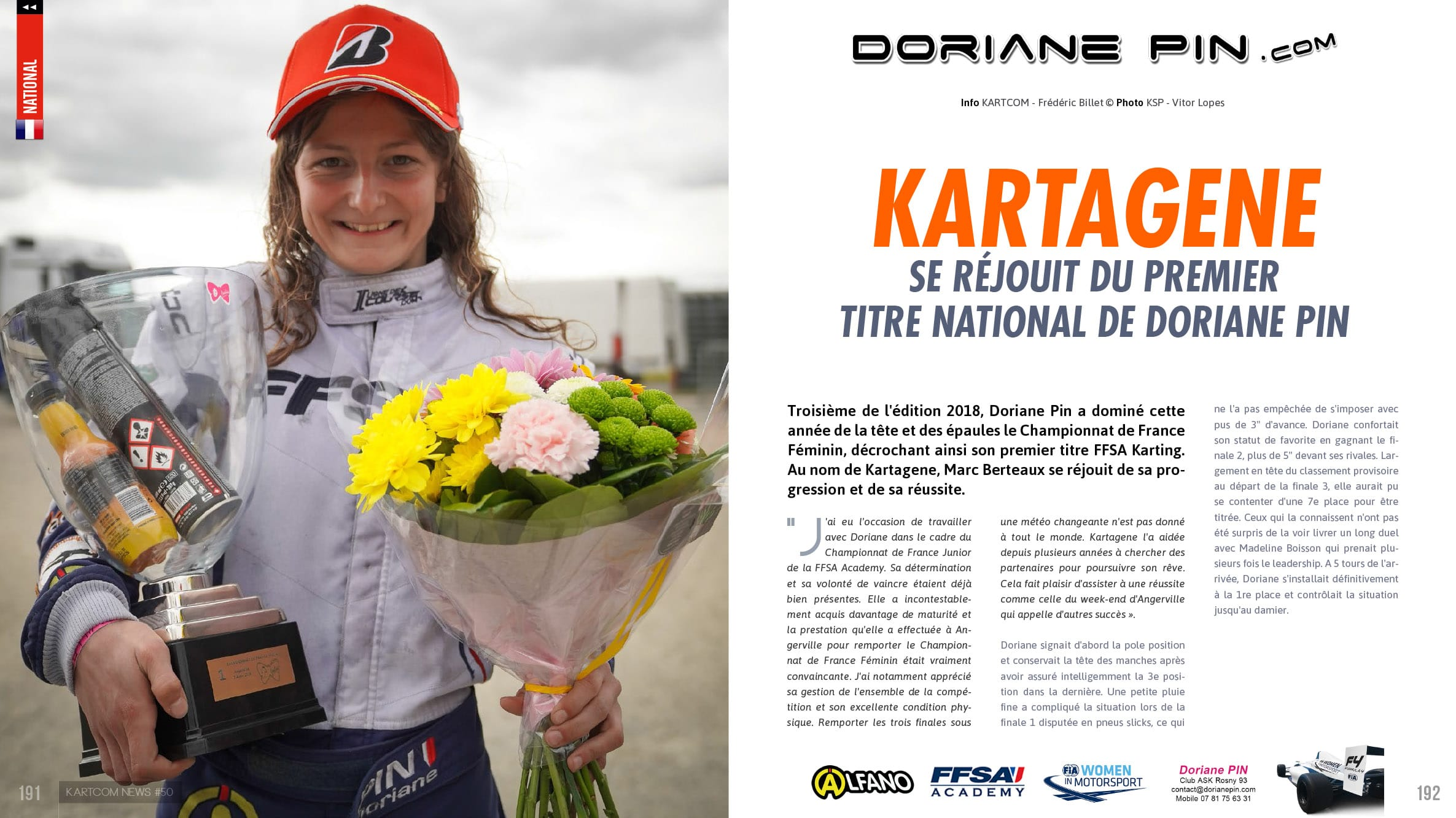 Kartagene félicite Doriane Pin pour son premier titre national en Karting 2019 , article avril 2019