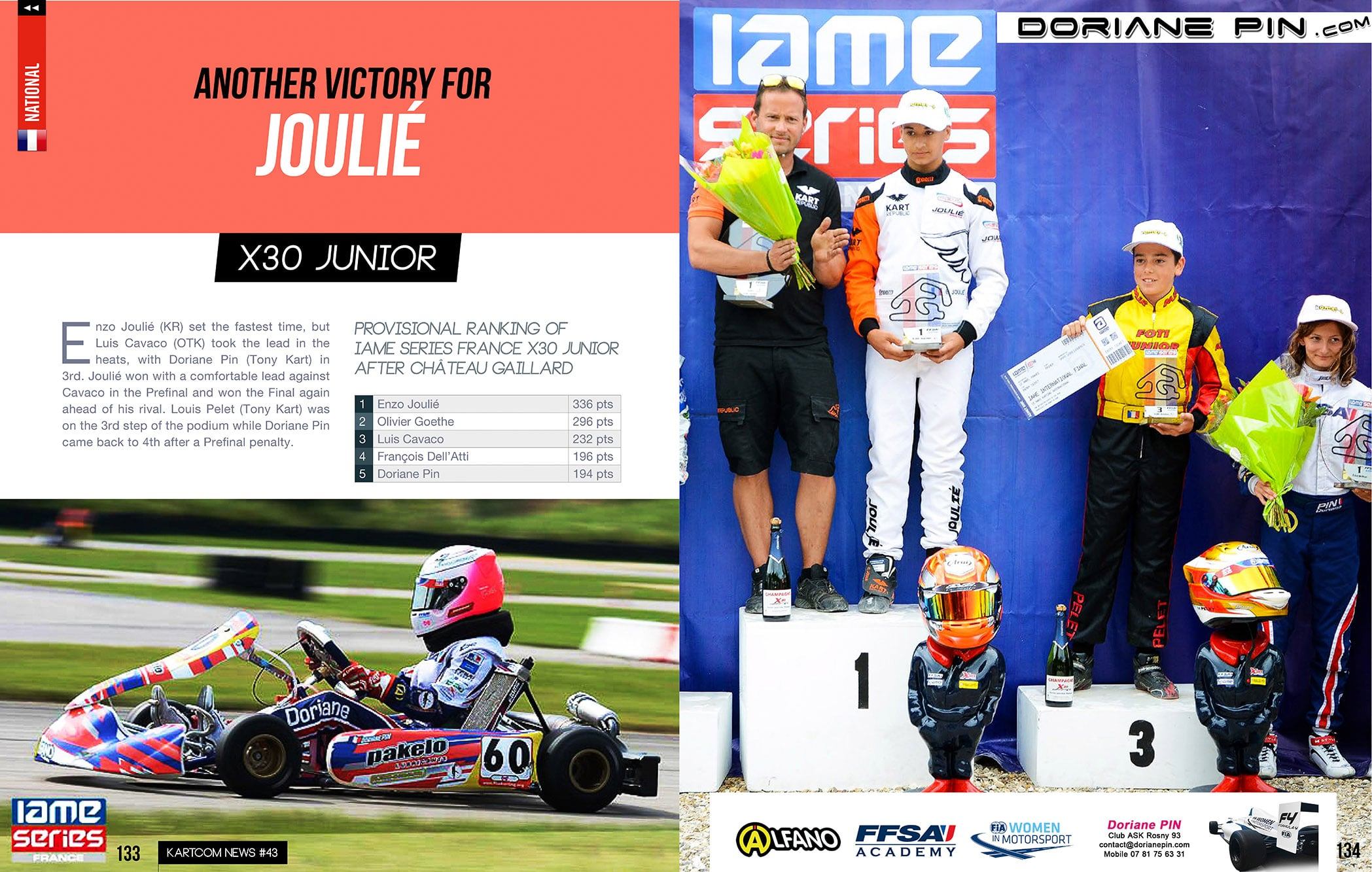 New category for Doriane Pin 4th in IAME X30 Junior , posted juine 2018