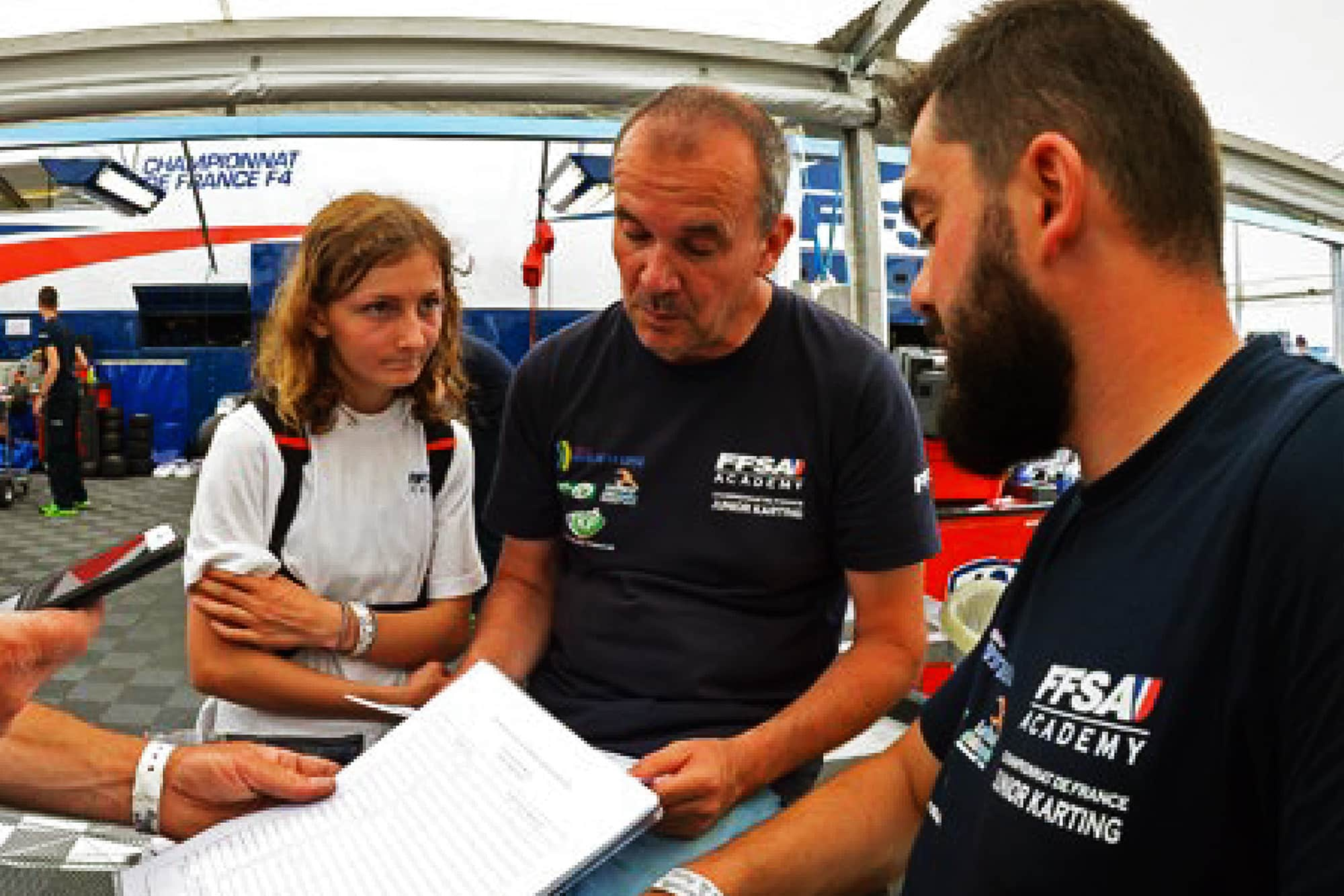 Doriane Pin with her coach Marc Berteaux from Kartagene and FFSA Academy