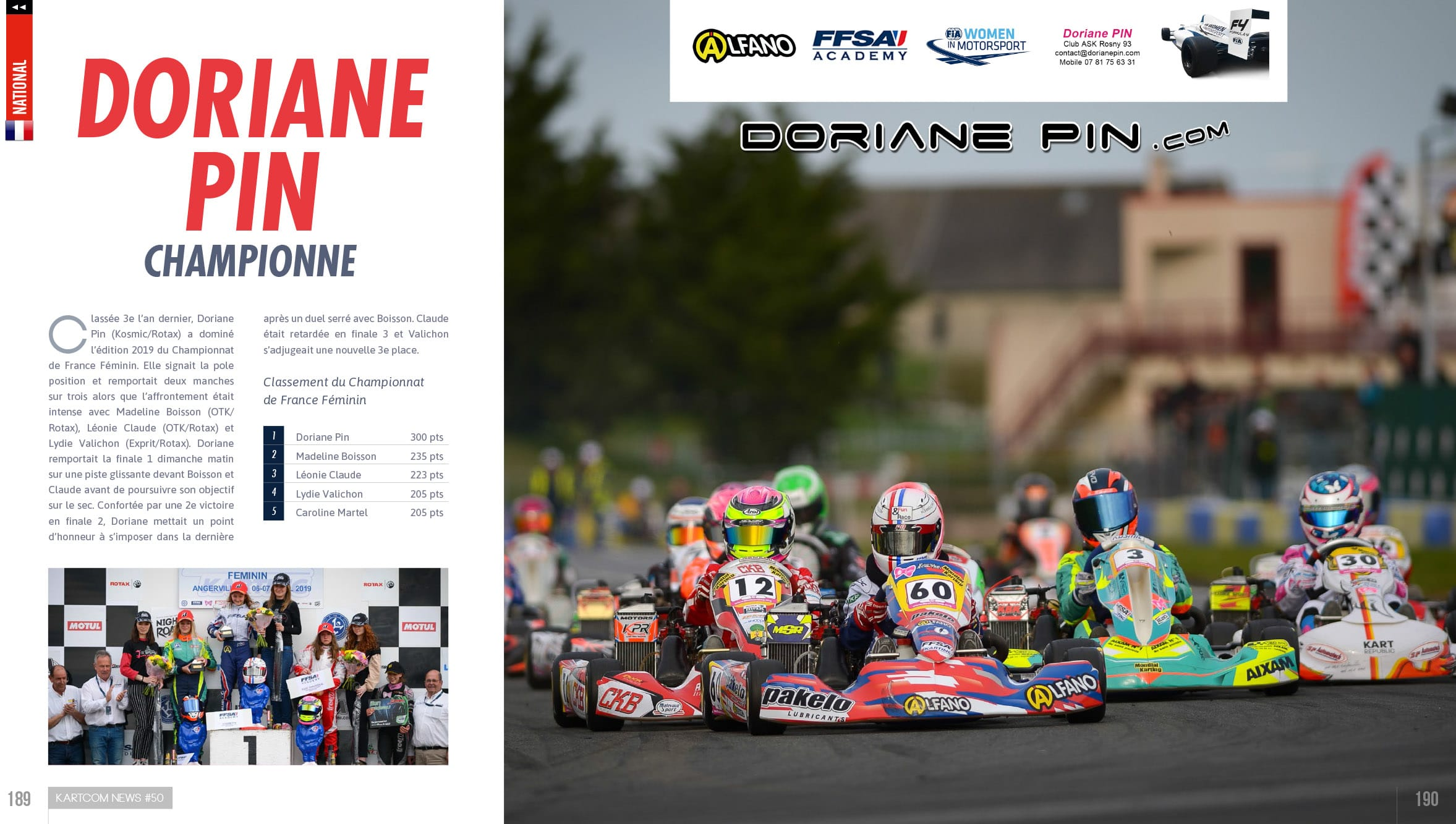 Doriane Pin Championne de France Karting Partenaires , article avril 2019