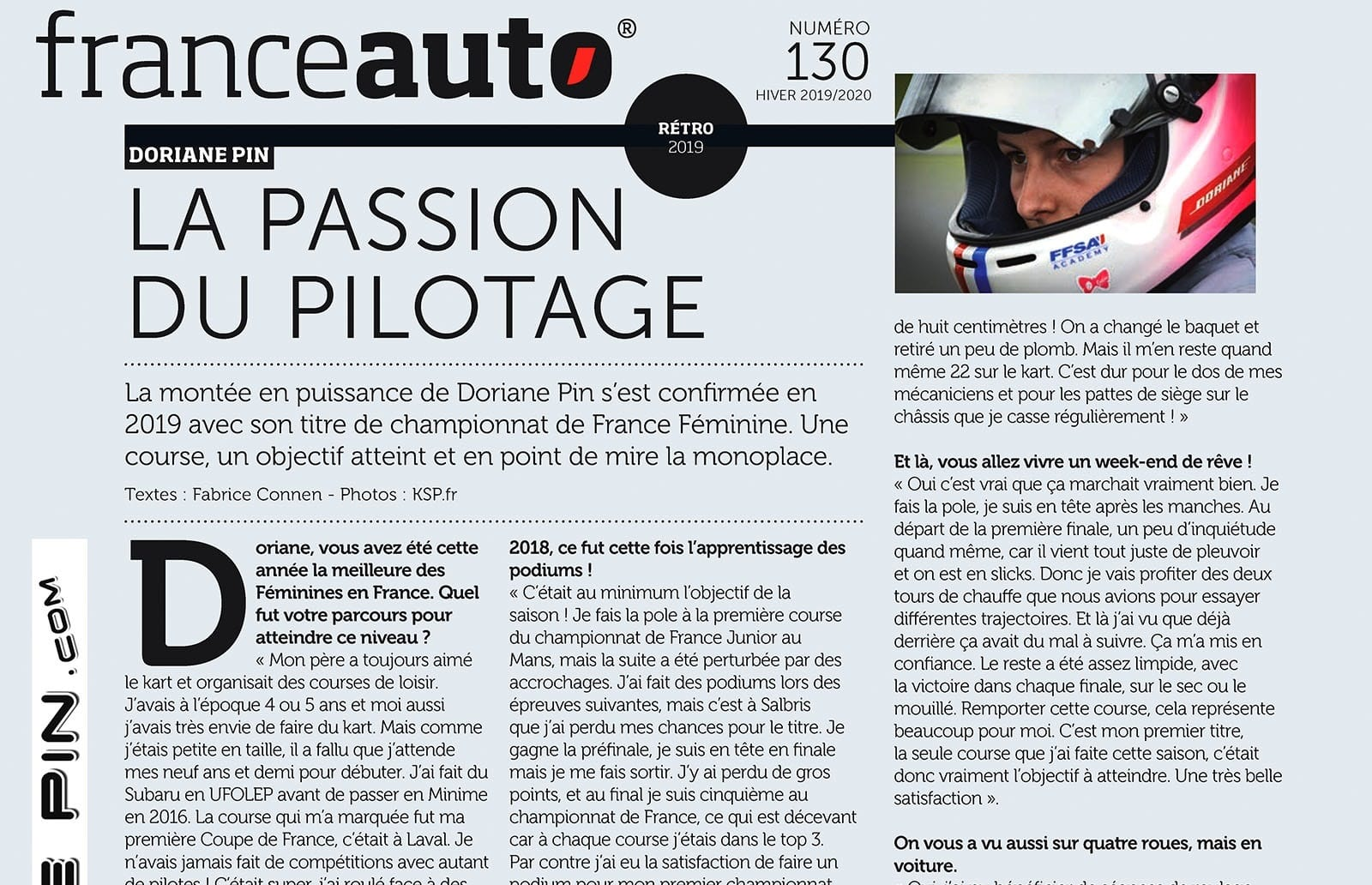 Doriane Pin Passion du pilotage FranceAuto130 article janv 2020Doriane Pin , La passion du pilotage (France Auto #130 article janvier 2020) mini