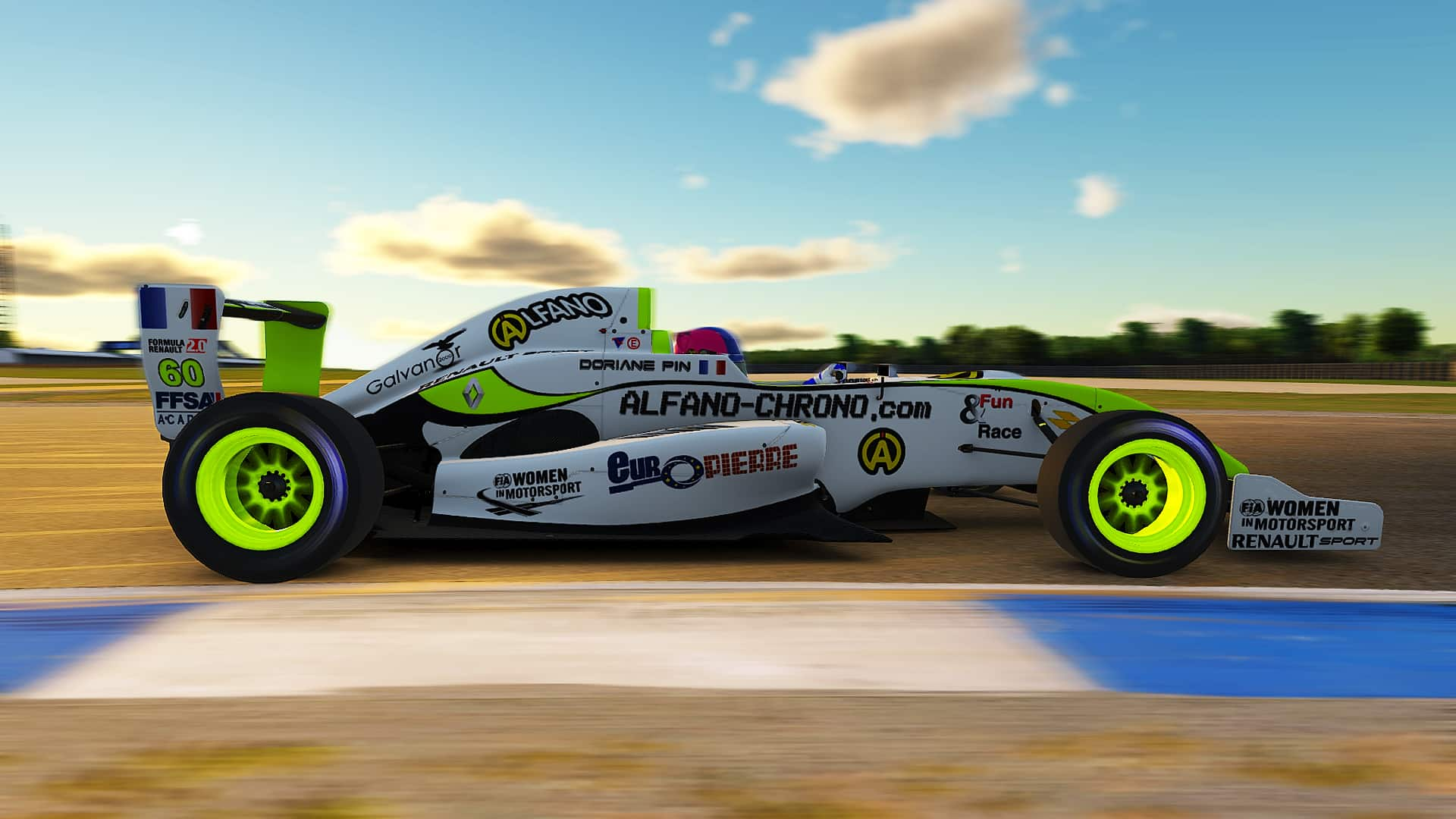 Doriane Pin drives her Formule Renault 2.0 on iRacing.