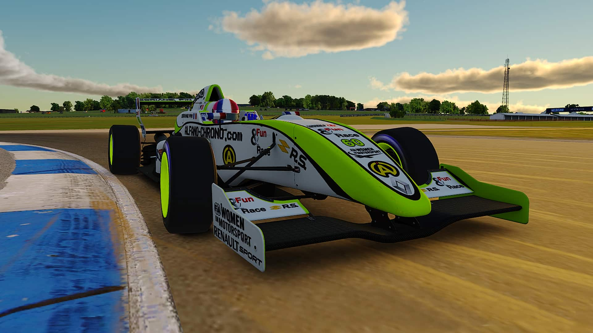 Doriane Pin drives her Formule Renault 2.0 on iRacing,